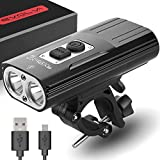 Rechargeable Bike Light Evolva Future Technology 1800 Lumens USB Cree LED Headlight Bicycle Light (Black)