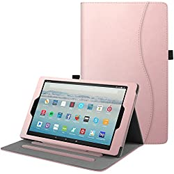 Fintie Case for All-New Amazon Fire HD 10 Tablet (7th Generation, 2017 Release) - [Multi-Angle Viewing] Folio Stand Cover with Pocket Auto Wake / Sleep for Fire HD 10.1 Inch Tablet, Rose Gold