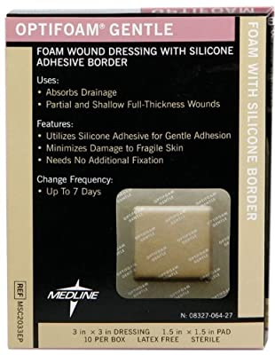 "Medline MSC2033EPZ Optifoam Gentle Border Adhesive Dressings, 3"" x 3"" (Pack of 10)"