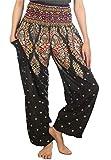 Lofbaz Women's Floral Smocked Waist Harem Pants Boho Clothing Black 3XL