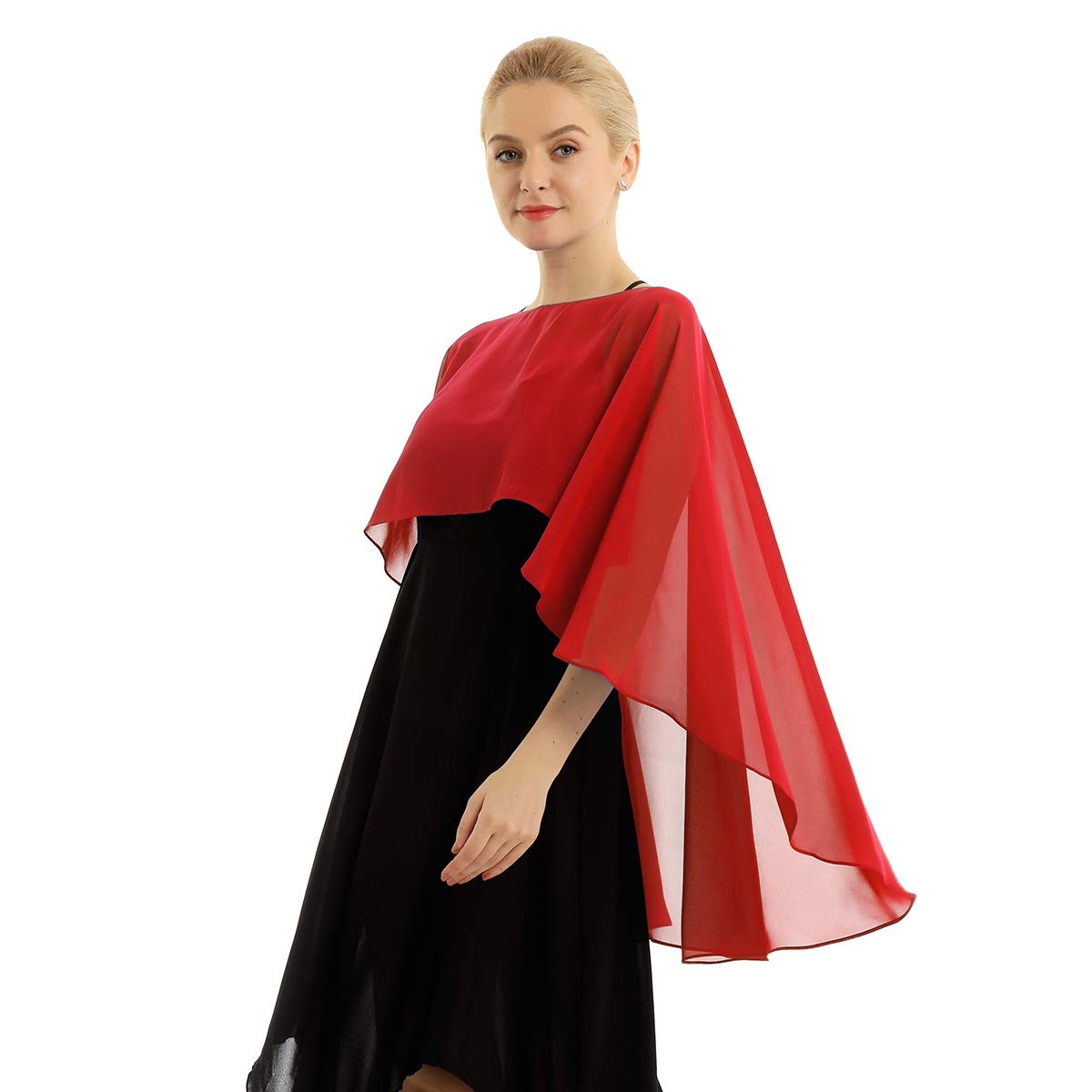 YiZYiF Damen Chiffon Bolero Jacke Elegant J/äckchen Cape Leichter Poncho Cardigan Tops Shrug Schal Umschlagtuch zum Brautkleid Abendkleid