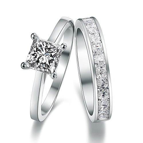 925 Sterling Silver Princess Cut Crystals Accent Love Forever Eternity Engagement Wedding Ring Set For Women, Teenage girls (Accent Cut Princess)