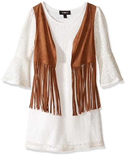 Amy Byer Big Girls' Bell Sleeve Lace Dress with Suede Vest, White, 12