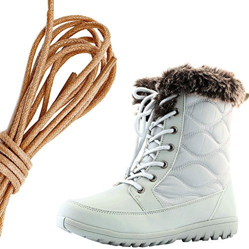Daily Shoe Mujeres Cómodo Toe Toe Flat Flat High Eskimo Winter Fur Botas De Nieve, Marrón Gris Claro Pu