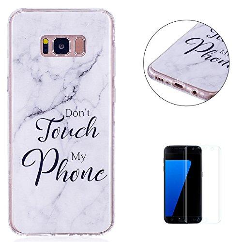 Samasung Galaxy S8 Plus Soft TPU Carcasa Funda, KaseHom mármol Cover Geometría de granito geométrica caso de las iniciales Protectiva Anti-rasguños Caso y [Protector de pantalla gratuito] -8 9
