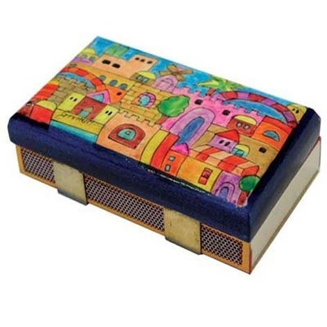 Hand Painted Wooden Match Box Holder / Tower of David Design - Hand Painted Wooden Box