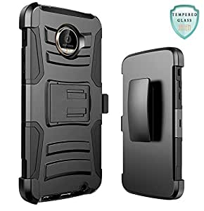 Moto Z Play Droid Case, JATEN [Belt Clip] Rugged Hybrid Dual Layer Kickstand Holster Combo + Tempered Glass Screen Protector and Stylus Pen (Black/Black)