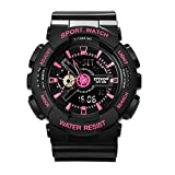 Women' s Quartz Analog Digital Fitness Sport Wrist Watch, Military Waterproof Watches for Ladies - Black