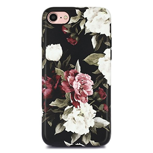 iPhone 7 Case for Girls/iPhone 8 Floral Case, GOLINK Floral Series Matte Finish Slim-Fit Anti-Scratch Shock Proof Anti-Finger Print Flexible TPU Gel Case for iPhone 7/iPhone 8 - White Red Rose