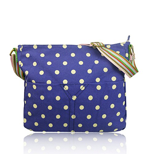 Dot Bag Canvas Spotty Cross Ladies Polka Body Messenger Blue qETfvwf