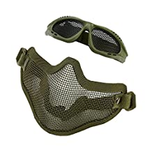 Airsoft mask, Half Face Protective Mask Metal Mesh with Airsoft Glasses for Outdoor CS Game