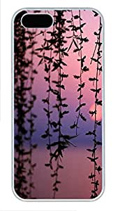 iPhone 5 5S Case Landscapes Dusk Branches PC Custom iPhone 5 5S Case Cover White