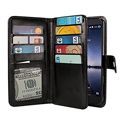 Case For ZTE Zmax Pro Carry Z981, Premium PU Leather Dual Wallet Folio TPU Silicone Cover, 2 Large inner Pockets Double flap Privacy, 9 Card Slots Holder Snap Button - Black from NextKin