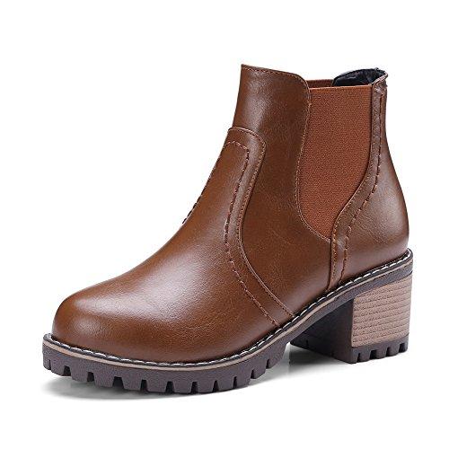 2b68beb0c8d5 VogueZone009 Damen Schnüren Rund Zehe Mittler Absatz PU Gemischte Farbe  Stiefel, Braun, 36