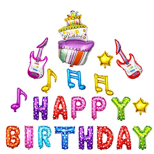 Birthday Decorations(22pack),Konsait Inflatable Happy Birthday Balloons Banner, Birthday Foil Cake and Guitar Helium Balloon for Kids Boy Girls for Rock Star Party Birthday Party Favors Decor Supplies for $<!--$9.99-->
