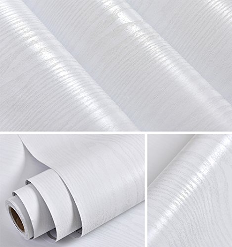 Faux White Wood Grain Contact Paper Self Adhesive Film Decorative Shelf Liner Roll Creative Covering for Drawer Shelf Cabinets (23.58''x117'')