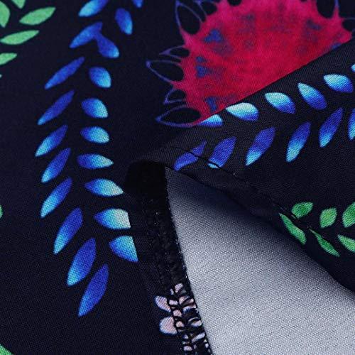 Tobillo del La oscuro Altura Mujeres de Las Vestido Gusspower Floralde Azul Vestido Bohemias Estampado xBZUPwq