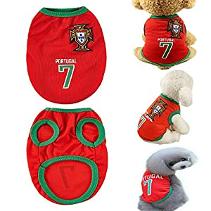 COSL Dog Clothes Football T-shirt 2018 World Cup FIFA Team Jersey for Pet Portugal (1 PSC) (XL)