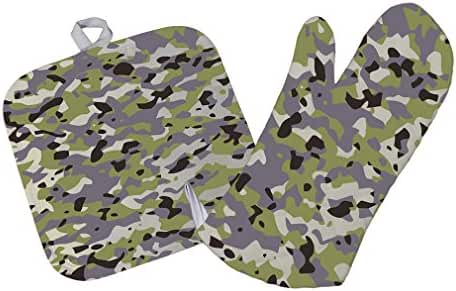 Camouflage Design Kitchen Bar Oven Mitt & Pot Holder Set