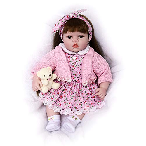 Soft Body Baby Doll, Lifelike Realistic Reborn Babies Dolls Toddler Kids Gifts Toys,(22 inch, Floral Girl)