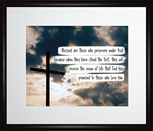 James 1:12 Blessed are those who persevere - Christian Poster, Print, Picture or Framed Wall Art Decor - Bible Verse Collection - Religious Gift for Holidays Christmas Baptism (11x13 Framed)