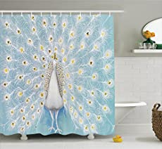 Ambesonne Peacock Decor Shower Curtain Set ...