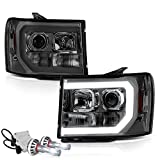 VIPMotoZ 2007-2013 GMC Sierra 1500 2500HD 3500HD Neon Tube DRL Smoke Lens Headlights, Driver & Passenger Side