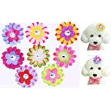 "Yagopet 20pcs Dog Hair Bows Clips Sunflower Colorful 2.2"" Rhinestone Bows Alligator Clips Dog Topknot Bows Pet Dog Grooming Bows Pet Supplies Hair Accessories"