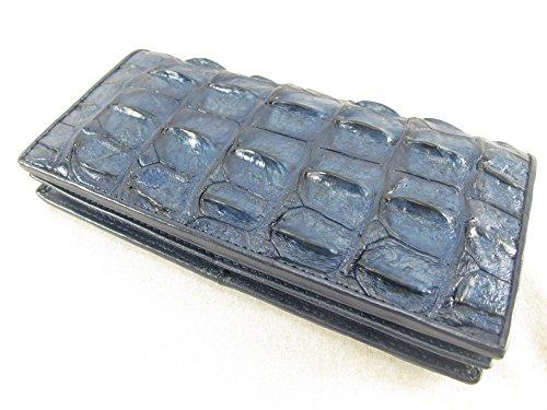 PELGIO Genuine Crocodile Alligator Backbone Skin Leather Checkbook Long Wallet (Cobalt Blue)