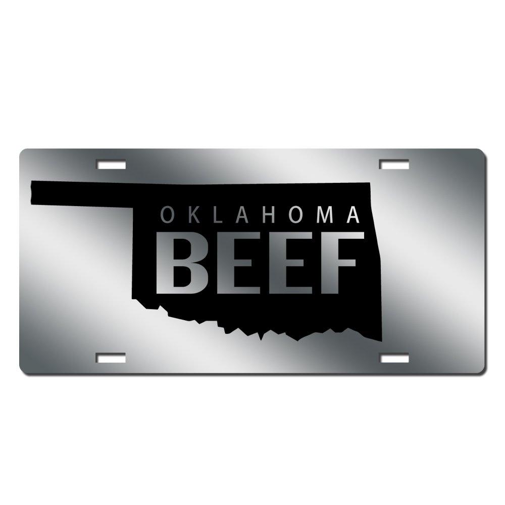 Beef License Plate Beef Farmer Car Tag Mirror Acrylic Oklahoma Beef JassGraphix.com beefokla1