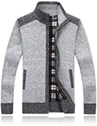 "<span class=""a-offscreen"">[Sponsored]</span>Mens Winter Patchwork Thick Full Zip Knitted Cardigan Sweaters Jacket With Pocket"