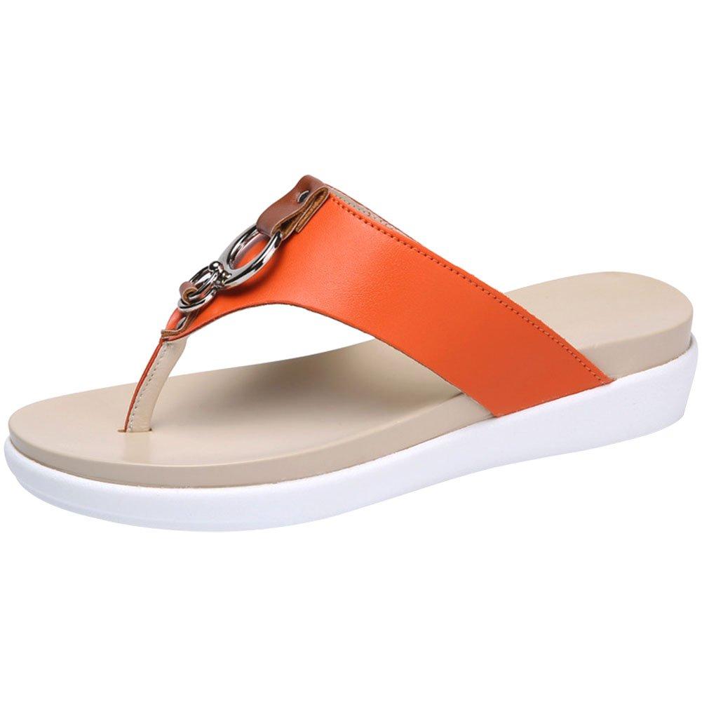 f378e630a7a wealsex Tongs PU Cuir Compensees 4CM Confort Femme Eté Plage Chausssons  Sandales Mules Flip Flop Grande Taille 40 41 42 43