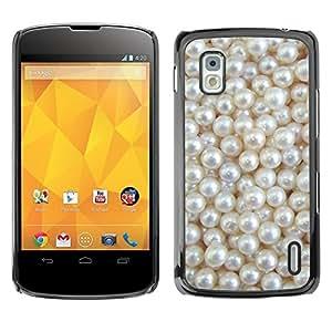 Be Good Phone Accessory // Dura Cáscara cubierta Protectora Caso Carcasa Funda de Protección para LG Google Nexus 4 E960 // White Rich Pearl Jewel Gem