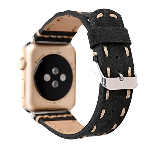 MeShow TCSHOW 40mm/38mm Handmade Vintage Calf Genuine Leather Strap Wrist Band with Secure Metal Clasp Buckle Compatible for Apple Watch Series 4(40mm)/Series 3/2/1(38mm) (1pcs Black) ()