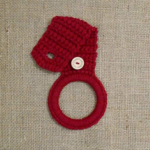 Burgundy Crochet Hanging Dish Towel Holder, Kitchen Decor ()