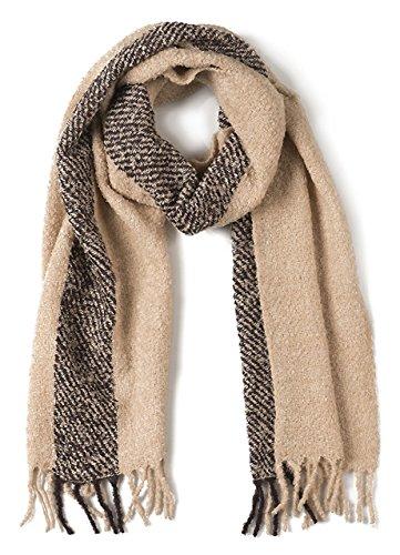Alpaca Boucle Scarf - Single Stripe Nubby Rustic Weave Baby Alpaca & Silk Boucle Scarf - Unisex (Hemlock / Ecru)