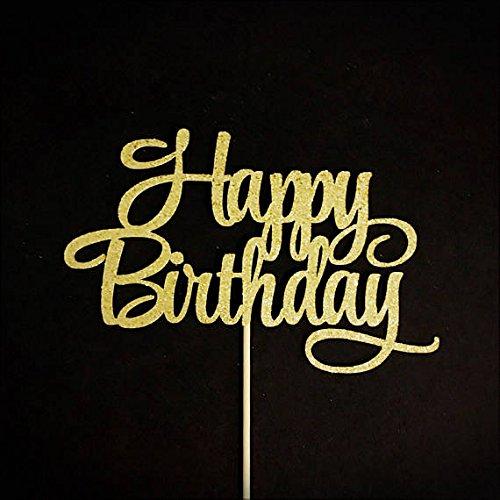 Happy Birthday Cake Topper, Birthday Party Decorations, Birthday Party Centerpiece, Milestone Birthday Topper, Gold Cake Topper, Glitter Birthday Topper
