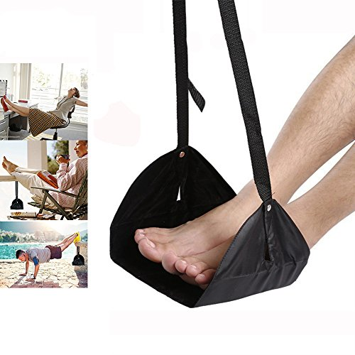 Footrest, Office Foot Rest Under Desk Hammock with Memory Foam for Reduce Fatigue, Portable Adjustable Height Office Accessories with a Eye Mask(Black) by NEWXCC
