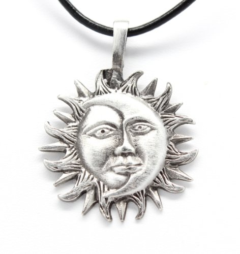 Trilogy Jewelry Pewter Sun Moon Face Celestial Lunar Solar Pendant, Leather ()