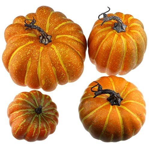 Gresorth 4 PCS Fake Pumpkins Artificial Vegetable Fall