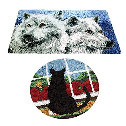 (Prettyia 2 Sets Latch Hook Kits with Basic Tools for Adults Wolf Cat Rug Cushion Carpet)