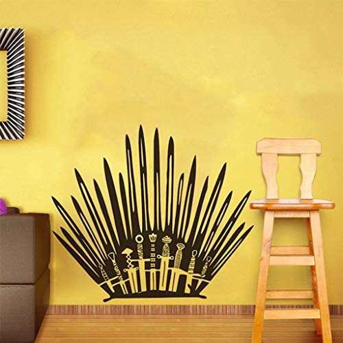 (Euone Home, Bathroom Living Room Throne Sticker Funny Sword Toilet Decal Home Decoration)