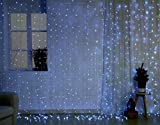Christmas String Icicle Lights, 9.8ft Dimmable Waterproof Curtain Holiday Lights Set for Home and Garden, with UL Safety Certifications and Remote Control, 448 LED, White Lights, White Wire