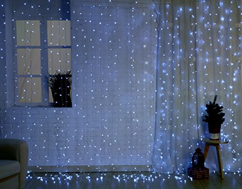 Christmas String Icicle Lights, 9.8ft Dimmable Waterproof Curtain Holiday Lights Set for Home and Garden, with UL Safety Certifications and Remote Control, 448 LED, White Lights, White Wire by AOFOX