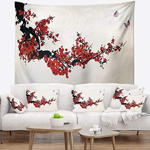 Designart Floral Winter Sweet Wall Tapestry, Large