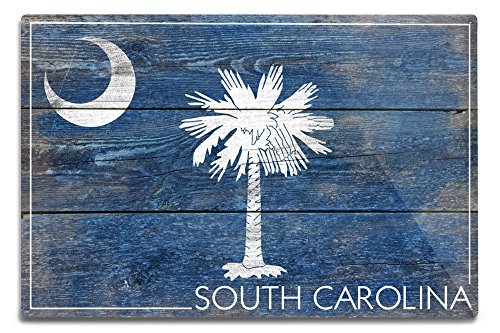 Lantern Press Rustic South Carolina State Flag (12×18 Aluminum Wall Sign, Wall Decor Ready to Hang)