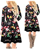 XILALU Women Christmas Printed Lace Dress Ladies Long Sleeve New Mini Dress (XL, Black B)