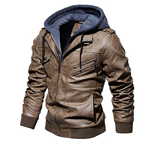 sheart 9 Men's Faux Leather Motorcycle Jacket Casual Stand Collar Lightweight Multi Pockets Zip-Up Military Windbreaker