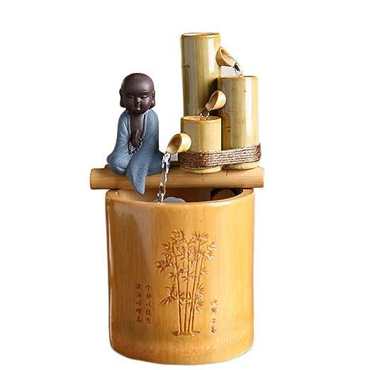 GTFHUH Bambú Creativo Fuente de Agua de Feng Shui Mini Monje de ...