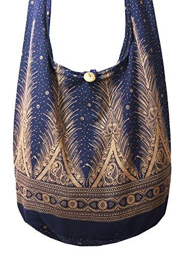 Lovely Creations's Hippie Boho New Elephant Crossbody Bohemian Gypsy Sling Bag Shoulder Bag Large Size (Peacock L Navy)